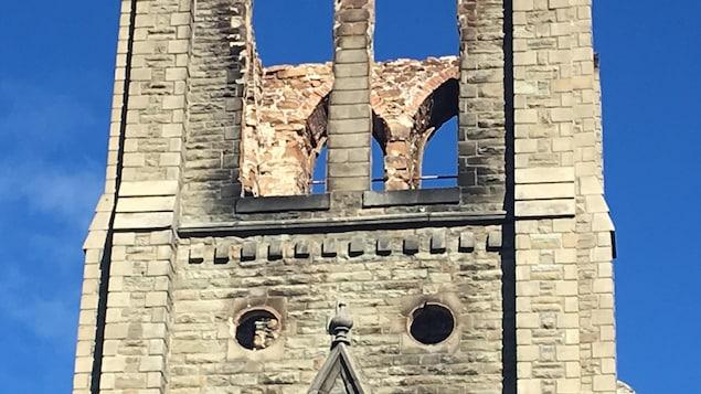 Ce qu'il reste, aujourd'hui, du clocher de l'église de Bas-Caraquet