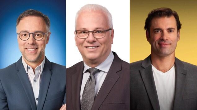 Portraits des trois candidats à la mairie de l'arrondissement du Plateau-Mont-Royal.