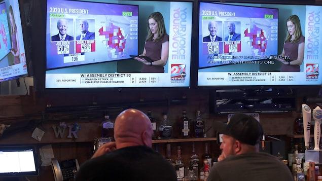 Deux hommes dans un bar regardent une télévision.