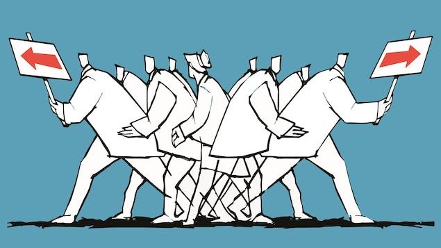 Illustration montrant des personnages qui vont dans deux directions différentes, un groupe à gauche et un à droite.