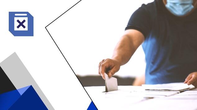 Une personne masqué dépose son bulletin de vote dans une boîte