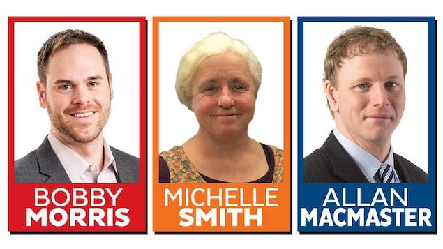 Trois photos de candidats dans des cadres aux couleurs de leur parti