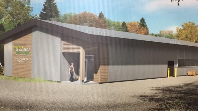 Une maquette du bâtiment qui sera construit pour accueillir l'élevage de l'Institut national d'agriculture biologique du Cégep de Victoriaville.