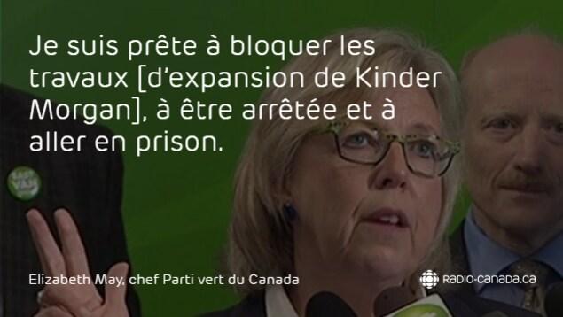 Déclaration d'Elizabeth May : Je suis prête à bloquer les travaux [d'expansion de Kinder Morgan], à être arrêtée et à aller en prison.