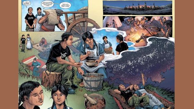 Une planche de la bande dessinée illustrant des activités de la vie quotidienne.