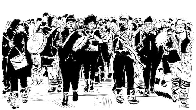 Une planche de BD qui représentent des hommes et des femmes munis de tambours.