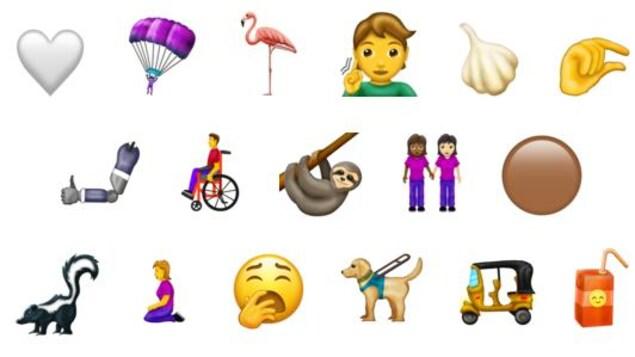 Une image montrant divers émojis, dont un coeur blanc, une personne en fauteuil roulant de profil et une boîte de jus rouge.