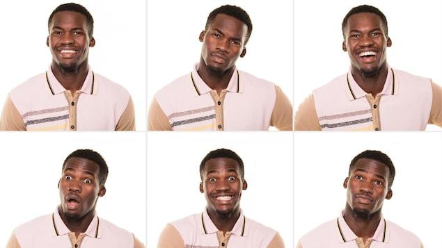 Six images d'un même homme qui fait différentes expressions faciales