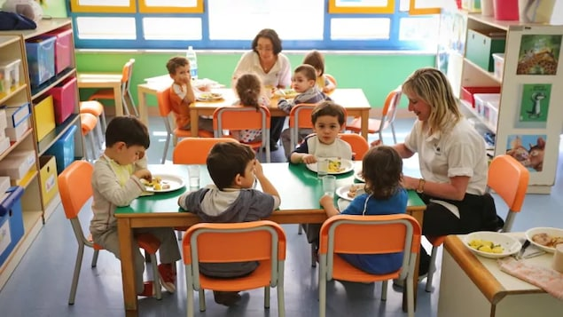 Des enfants assis à des tables avec des éducatrices.
