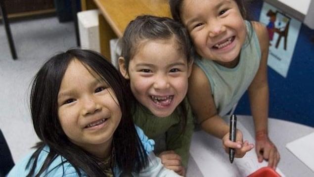 Des enfants autochtones sourient devant l'objectif d'un appareil photo.