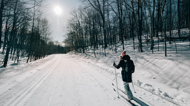 Une femme est sur une piste de ski de fond ensoleillée