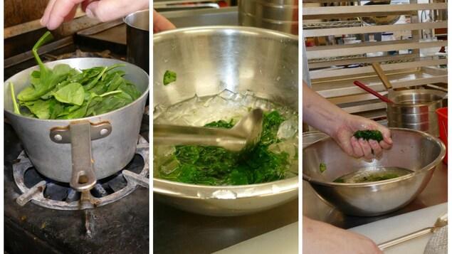 La cuisson des épinards.