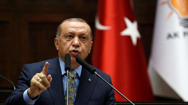 Le président turc Tayyip Erdogan lors d'une réunion au parlement turc à Ankara, en Turquie, le 23 octobre 2018.