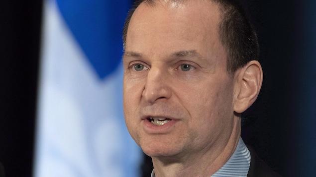 Eric Girard, ministre des Finances du Québec, lors d'un point de presse.