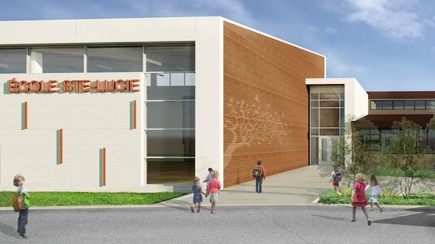 Un plan d'architecte montre de quoi aurait l'air l'école Sainte-Lucie.