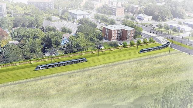 Représentation de la ligne de tramway dans le secteur du boulevard Pie XII