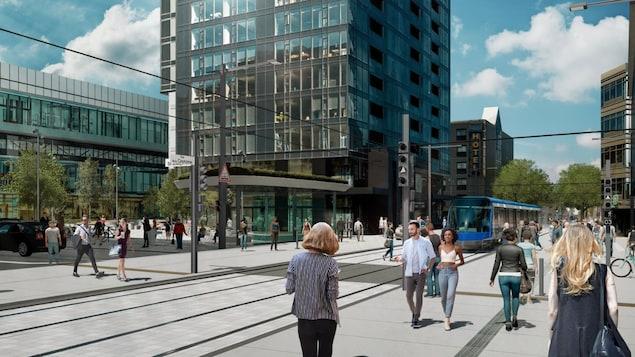 Esquisse du projet de tramway dans le quartier Saint-Roch, à Québec.