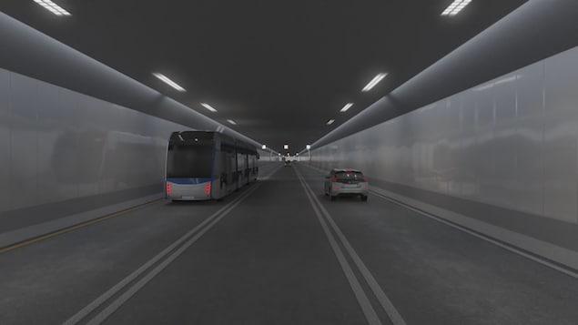Esquisse du projet de tunnel sous-fluvial entre Québec et Lévis.