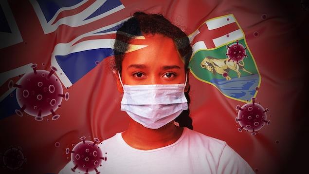 Une image montrant une jeune femme portant un masque entourée d'éléments qui symbolisent le coronavirus et le Manitoba : image du virus, drapeau de la province.