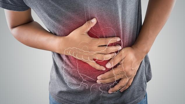 Illustration d'un homme souffrant d'un malaise gastrique.