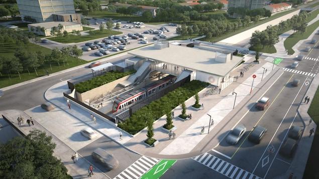 Un dessin qui représente une station de train avec son environnement.