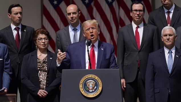 Donald Trump lors d'une allocution à la Maison-Blanche.