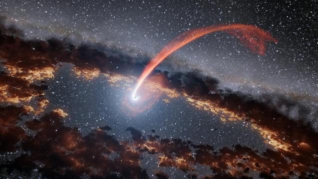 Illustration d'une étoile aspirée par un trou noir supermassif.