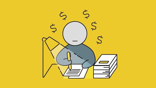 Un dessin d'un étudiant travaillant à son bureau
