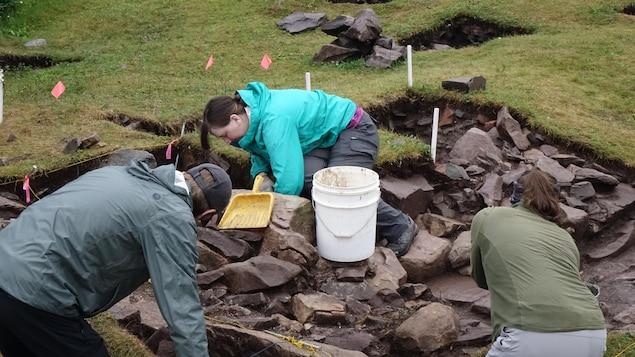 Trois étudiants enlèvent du sol d'un carré de fouilles.