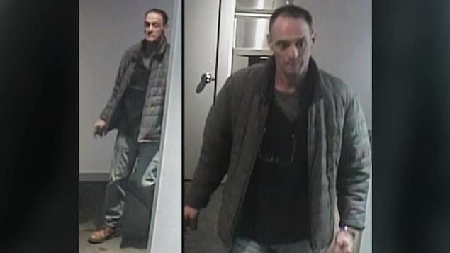 Images de caméra de sécurité montrant Eustachio Gallese marchant dans un couloir.