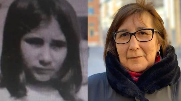 Une photo d'Evelyn Korkmaz enfant (à gauche) et une autre photo d'elle adulte (à droite).