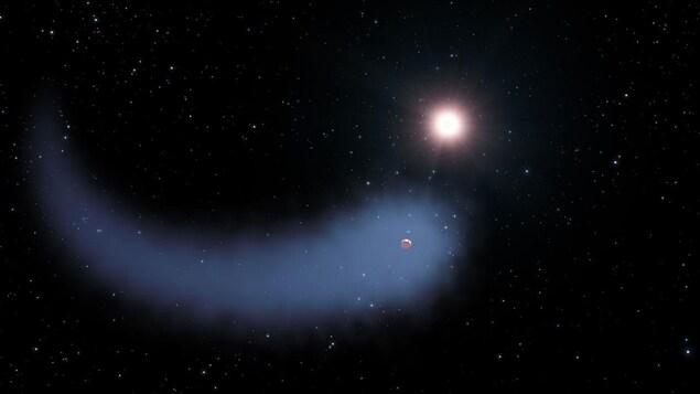 Impression artistique de Gliese 436 b, de son nuage et de sa queue d'hydrogène, en orbite autour de son étoile Gliese 436.