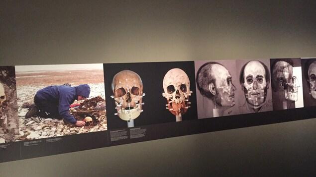Des photos montrent les fouilles archéologiques qui ont mené à la découverte des corps des 129 membres de l'équipage, morts prisonniers des glaces.