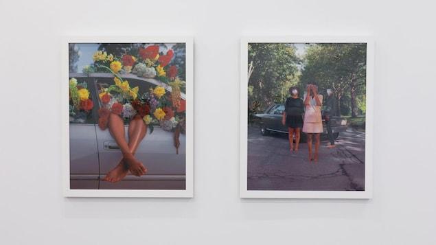 Deux photographies exposition Together Again présentées à la Burrard Arts Foundation de Vancouver. À gauche, on peut voir les jambes d'une jeune-femme couvertes de fleurs qui sortent d'une fenêtre de voiture grise. À doite, deux jeunes femmes et un jeune homme sont devant une voiture. Leur visage est caché.