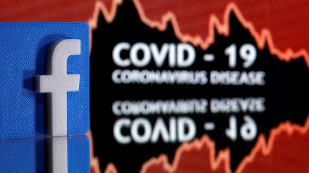 Le logo de Facebook en trois dimensions devant les mots COVID-19