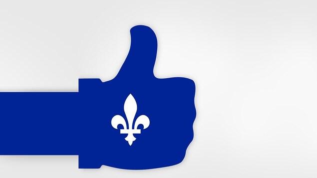 Un pouce en l'air sous les couleurs du drapeau du Québec