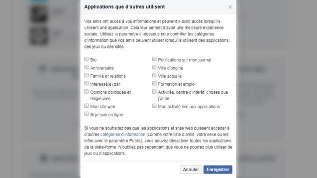 Une capture d'écran d'un menu de Facebook montrant la boîte de dialogue «Applications que d'autres utilisent».