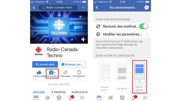 Deux captures d'écran de Facebook sur mobile placées côte à côte. Les boutons à cliquer sont mis en évidence en rouge.