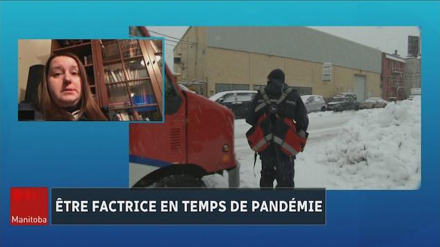 Une femme parle de son travail à la télévision et une autre image la montre en marchant dans la neige