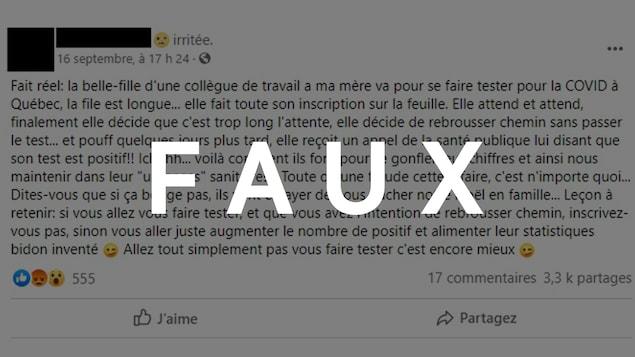 Une publication Facebook raconte que la belle-fille d'une collègue de travail de l'auteure de la publication a obtenu un diagnostic positif à la COVID-19 après avoir quitté la file de dépistage.
