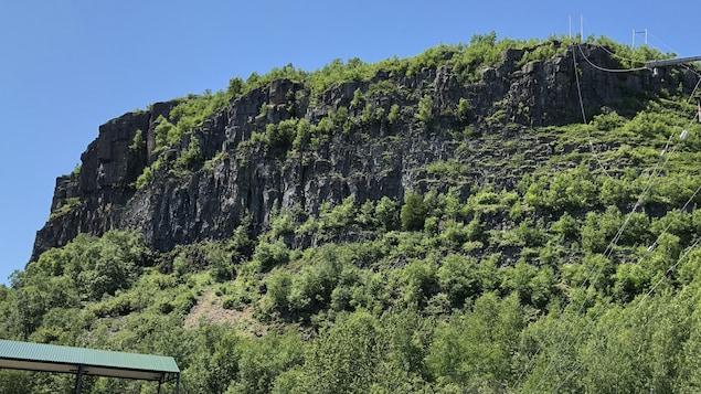Une falaise recouverte d'arbres.