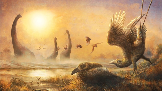 Illustration artistique représentant des Falcatakely forsterae au milieu de dinosaures du Crétacé supérieur à Madagascar.