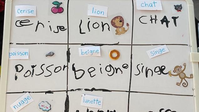 Un tableau avec des mots comme cerise, lion, chat, ainsi que les images correspondantes.