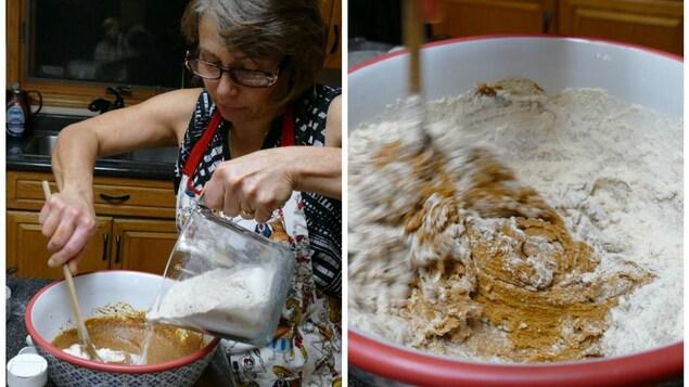 Christelle ajoute au mélange les ingrédients secs