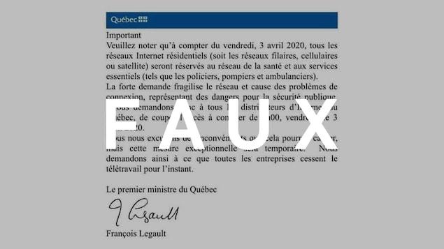 Une lettre signée par le premier ministre du Québec. Le mot FAUX est sur l'image.