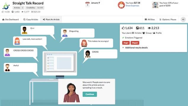 Une capture d'écran du jeu vidéo Fake it to Make it montrant des utilisateurs fictifs de réseaux sociaux qui réagissent à une fausse nouvelle.