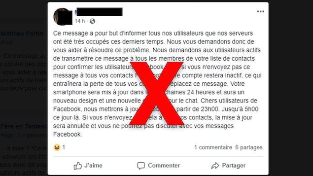 Le message affirme qu'il faut le partager pour garder son compte Facebook.