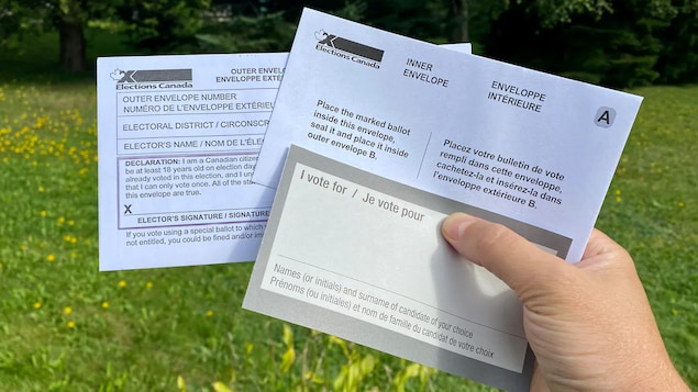 Hawak ng isang kamay ang voting kit.