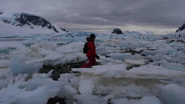 Une femme marche entre des morceaux de glace en Antarctique