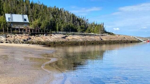 Paysage bucolique avec le fleuve à marée basse.